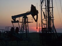 Industrial sunset. Sunset through the gas produce tower (Kazantip reserve, Crimea, Ukraine Royalty Free Stock Photos