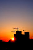 Industrial Sunset. Construction of a major housing project at sunset Stock Photography