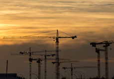 Industrial sunset with cranes on construction site. Cranes on industrial construction site at sunset Royalty Free Stock Photo