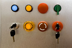 Industrial Switch Panel. Industrial electrical switch panel with key royalty free stock photo