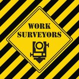 Industrial symbol for surveying. Industrial symbol for a surveyor with yellow-black markings Stock Photo