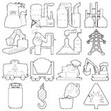 Industrial symbols icons set, outline style Royalty Free Stock Photos