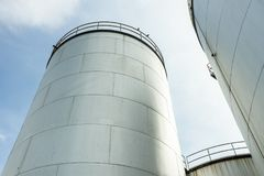 Industrial tank petrol and oil. Over sky stock images