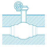 Industrial tap. Vector blueprint illustration underground Royalty Free Stock Photography