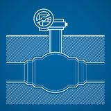 Industrial tap. Vector blueprint illustration underground  on blue background Stock Photography
