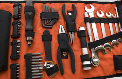 Industrial tool kit. Industrial tools kit in red cloth Stock Images