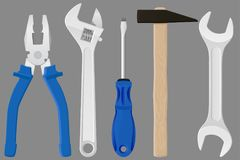 Industrial tools kit - pliers, adjustable wrench, screwdriver, hammer, spanner. Metal tools with blue handles on gray background. Vector 3d illustration Stock Photos