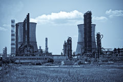 Industrial towers at oil refinery royalty free stock photography