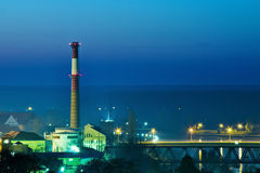 Industrial town at night Stock Image