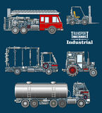 Industrial transport with details and parts poster. Industrial transport mechanics poster. Autotruck, fire truck, loader, tractor and tank track silhouette Royalty Free Stock Photos