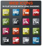 Industrial transport icon set. Industrial transport icons set in flat design with long shadow Royalty Free Stock Photo