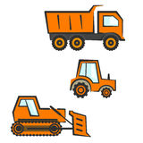 Industrial transport set. Dozer, tractor, dumper. Flat orange industrial transport set. Dozer, tractor and dumper Royalty Free Stock Photos