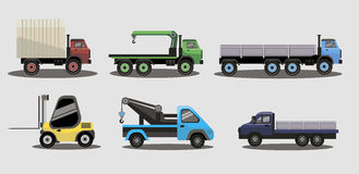 Industrial transportation freight trucks. Tractor vector set for agriculture, shipping, carrying and logistics needs Stock Photos