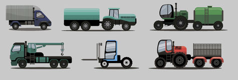 Industrial transportation freight trucks and tractors Royalty Free Stock Images