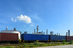 Industrial transportation with train container and bule sky Stock Image