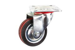 Industrial trolley single Swivel Rubber Caster Wheels. Industrial trolley single Swivel Rubber Caster Wheels with Top Plate not fixed and break .wheel have royalty free stock photography