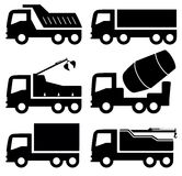 Industrial trucks icons set. Black six isolated industrial trucks icons set Royalty Free Stock Image