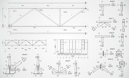 Industrial truss. Highly detailed drawing of industrial truss Royalty Free Stock Images