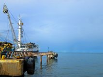 Industrial tuna fishing vessel at the dock. Royalty Free Stock Image