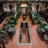 Industrial Turbine Hall & Water works. Royalty Free Stock Photos