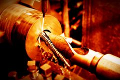 Industrial turning, threading machine at work Royalty Free Stock Photo