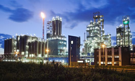 Industrial twilight. Operational petrochemical plant in twilight (Antwerp port, Belgium stock image