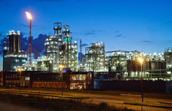 Industrial twilight. Operational petrochemical plant in twilight (Antwerp port, Belgium royalty free stock image