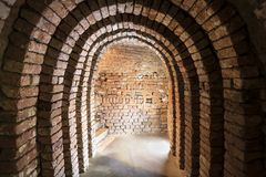 Industrial underground in Poland. Old cellar. Royalty Free Stock Photo
