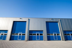 Industrial unit. With roller shutter doors Royalty Free Stock Image