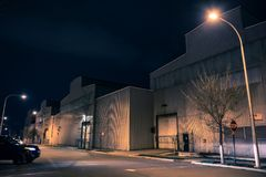 Industrial urban street city night scenery in Chicago. With vintage warehouses Royalty Free Stock Image