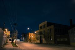 Industrial urban street city night scenery. In Chicago with a vintage warehouses Royalty Free Stock Photos