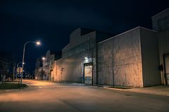 Industrial urban street city night scenery. In Chicago with a vintage warehouses Royalty Free Stock Images