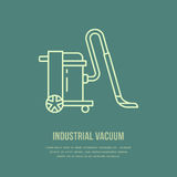 Industrial vacuum cleaner flat line icon, logo. Vector illustration of household appliance for housework equipment shop. Or cleaning service Royalty Free Stock Photos