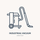 Industrial vacuum cleaner flat line icon, logo. Vector illustration of household appliance for housework equipment shop Stock Photos