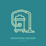 Industrial vacuum cleaner flat line icon, logo. Vector illustration of household appliance for housework equipment shop. Or cleaning service Royalty Free Stock Image