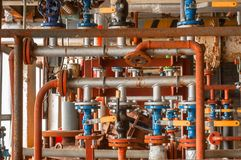 Industrial valve at gas distribution plant. Closeup royalty free stock images