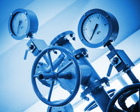 Industrial valve and manometers Royalty Free Stock Image