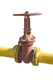Industrial valve on the oil pipe Royalty Free Stock Images