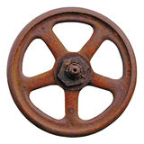 Industrial Valve Wheel And Rusty Stem, Old Aged Weathered Rust Grunge Latch, Large Detailed Macro Closeup Isolated Royalty Free Stock Photography