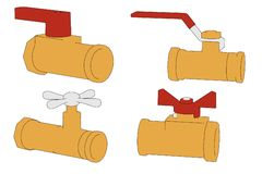 Industrial valves. Cartoon image of industrial valves Royalty Free Stock Image