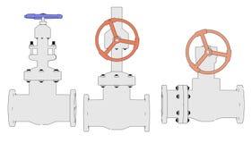 Industrial valves. 2d illustration of industrial valves Royalty Free Stock Image