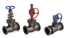 Industrial valves. 3d render of industrial valves Stock Photography
