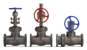Industrial valves. 3d render of industrial valves Royalty Free Stock Photos