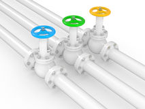 Industrial valves on pipelines Royalty Free Stock Photos
