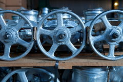 Industrial valves ready for dispatch. On Euro pallet royalty free stock images