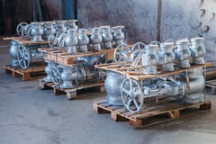 Industrial valves ready for dispatch Stock Photos