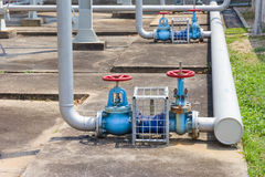 Industrial valves and water pipes outside the building Stock Photo