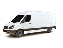 Industrial van. On a white background, room for text ,logo or copy space Stock Photo