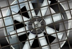 Industrial ventilation fan. An illustration of a big industrial ventilation fan with a metal mesh in front of it Stock Photography