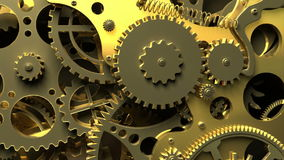 Industrial video background. Fantasy golden clockwork with gears and springs.